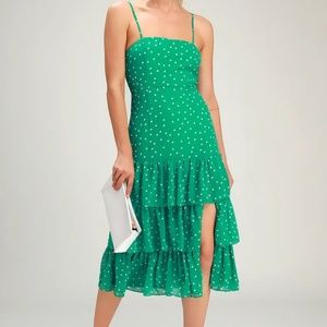 Green Polka Dot Ruffled Midi Dress
